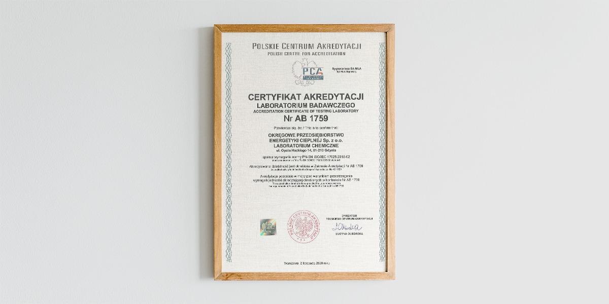 Certyfikat Akredytacji Laboratorium Badawczego