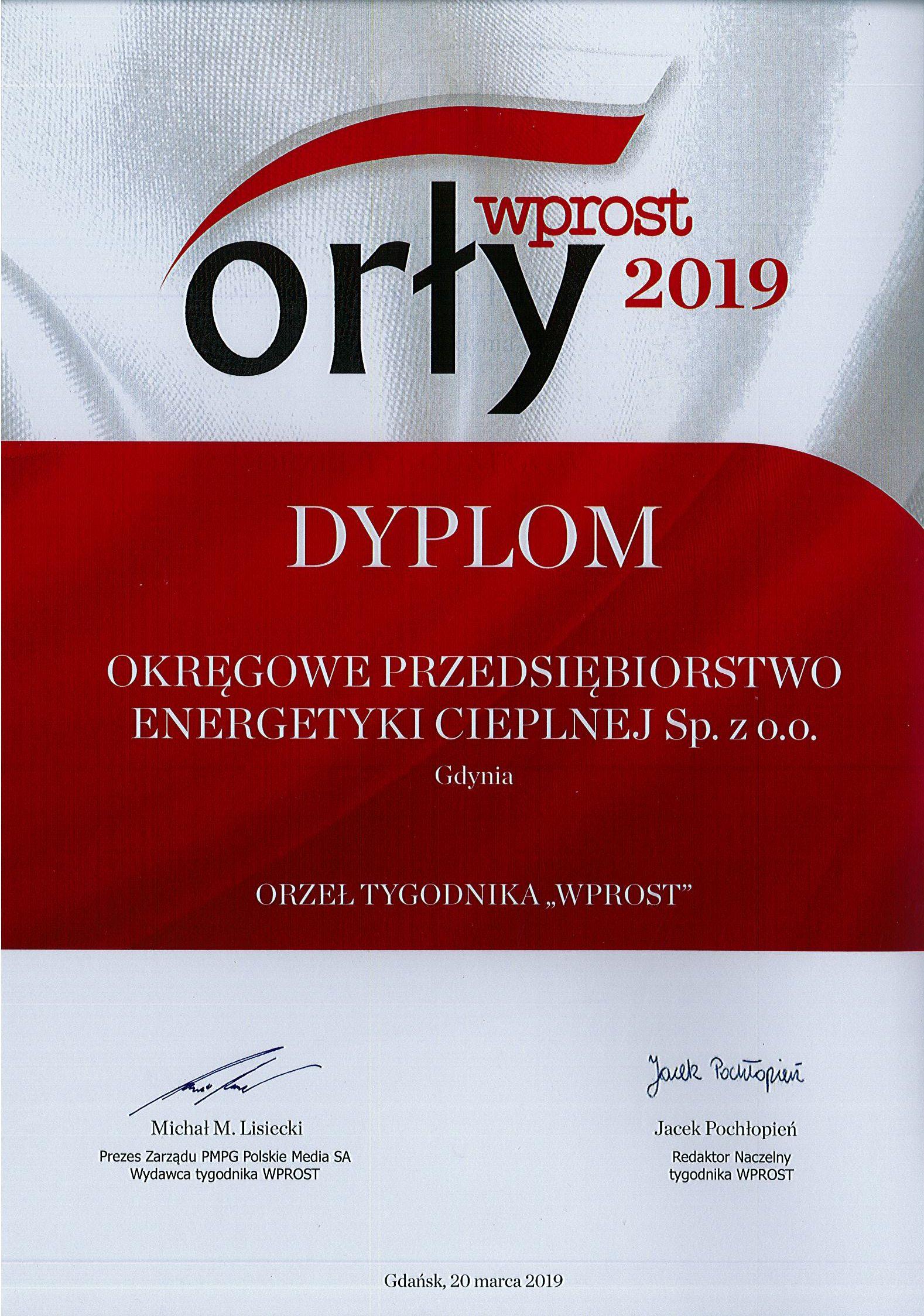 """OPEC laureatem """"Orłów Wprost 2019"""""""